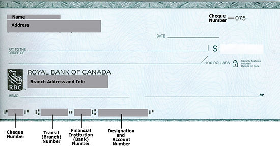 Bank Cheque Example