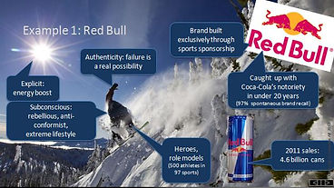The most iconic and successful communication strategie of the early 21st century: Red Bull. They promote a lifestyle