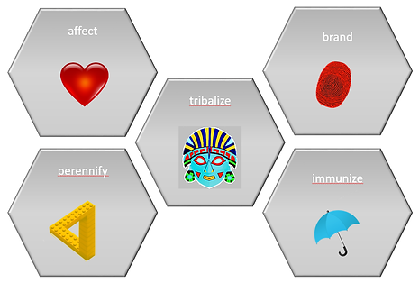 5 pillars allow brands to make consumers act instinctively sustainable: Affect, Brand, Tribalize, Perennify and Immunize