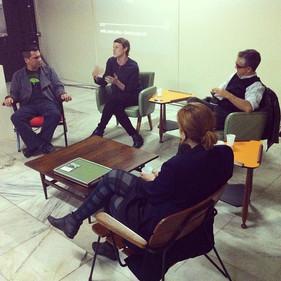 Bienal De Design Gráfico, 2013. Mesa Cultura Open Source com Tony de Marco, Barbara Soalheiro e Luli Radfahrer. Galeria Marta Traba, Memorial da America Latina.
