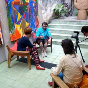 Gravação do Documentário Urbanilha. Conceito, pautas e apresentação. Entrevistado na foto Baixo Ribeiro. 2013.