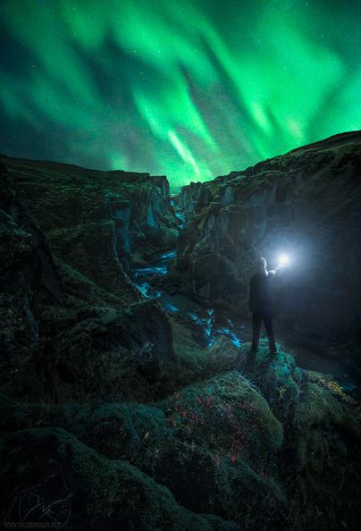Solar storm / canyon Iceland