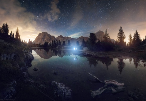 Night reflection / Limides Dolomites