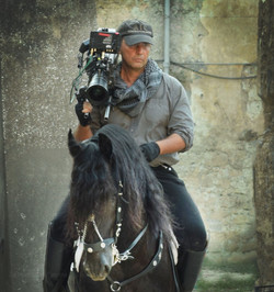 FP on a horse filming