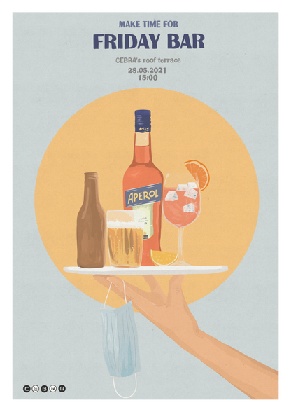 friday bar poster for cebra architecture