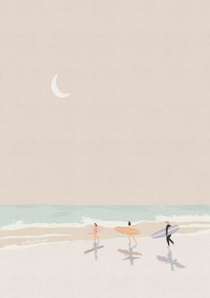 Surfers in Moonlight