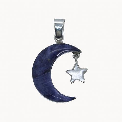 Colgante Luna fondo Azul con estrella