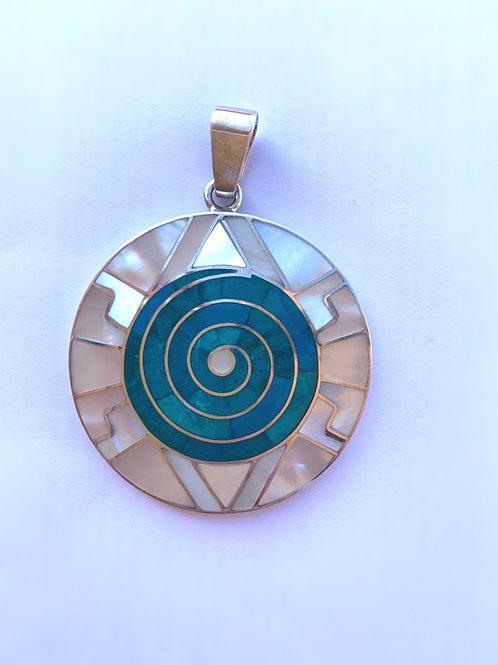 Colgante espiral turquesa 4 cm