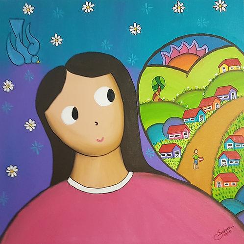 A Menina e o Coração - 80 x 80 cm - por Juliano Silva