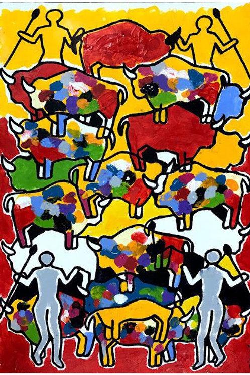 Série Rupestres - Caçadores entre Bisões - 66,2 x 48,2 cm - por Ribaxé