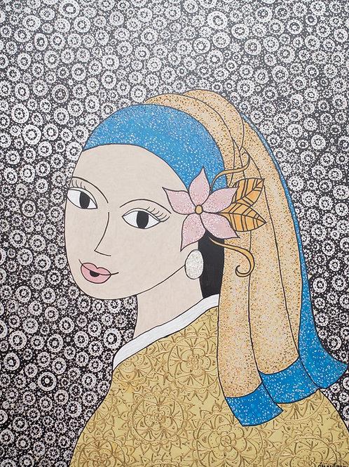 Releitura Moça Brinco Pérola - 58 x 46 cm - por Aline Carneiro
