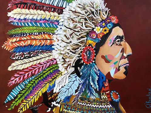 Homiathawe ( yanomami - Gavião ancestral ) - 50 x 70 cm - por Cibele Pugliesi -