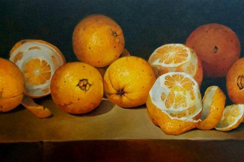 Laranjas - 30 x 60 cm - por Cleusa Soares