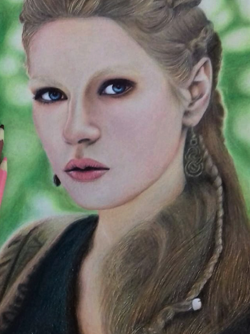 "Lagertha Lothbrok - da série - ""Vikings"" - 29,7 x 21cm - por Fabiana Rodrigues"