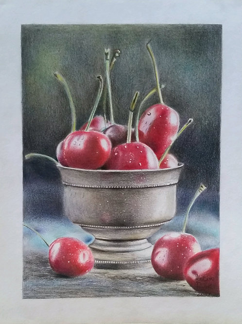 Cerejas na Vasilha -24,8 x 19 cm - por Gustavo Pauluk
