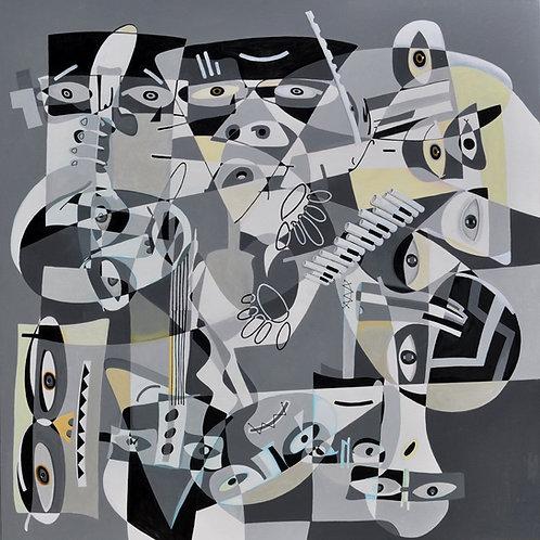 Os músicos - 110 x 110 cm - por Jansen Vichy
