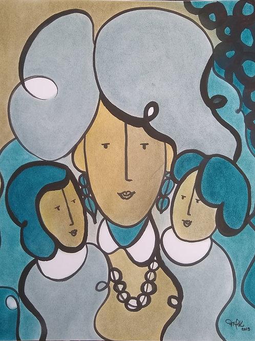 Mãe de dois -50 x 40 cm - por Fernanda Mascarenhas Kuhn