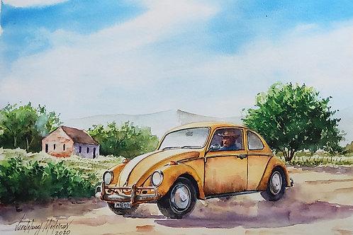 Fusca amarela - 30 x 42 cm - por Vandeberg Medeiros