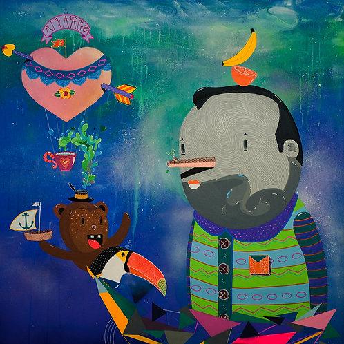 Aventuras do Príncipe Macaco Urso - 80 x 80 cm - por Gabriel Hune