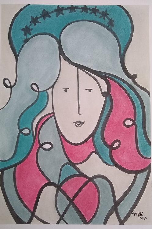 Nossa Senhora -59.4 x 42 cm - por Fernanda Mascarenhas Kuhn