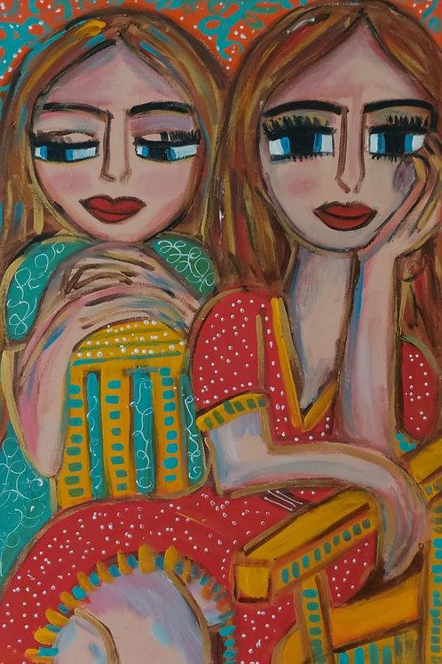 Enamoradas - 80 x 50 cm - por Juliana Rabelo