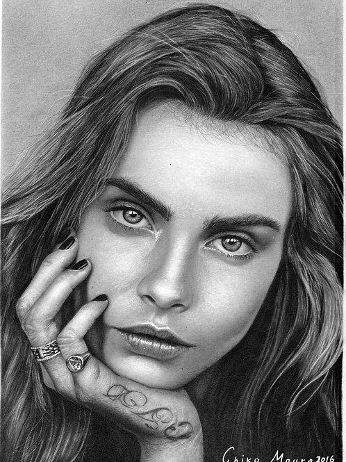 Cara Delevingne - 21 x 29,7 cm por Chiko Moura
