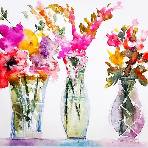 Flores em vaso de cristal - 30 x 30 cm - por Dani Aleixo