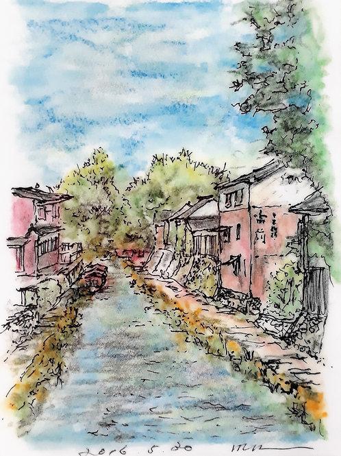 A city with a Waterside VII - 15 x 10 cm - por Motonori Nakamura