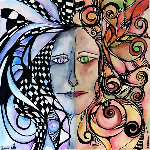 A alma de flores e tempestades - 50 x 50 cm - por Aimée Resende