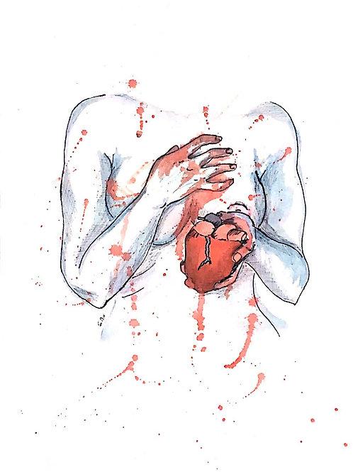 """Mi sangrado Corazón"" - 29,9 x 40,3 cm - por Sibu De Armas"