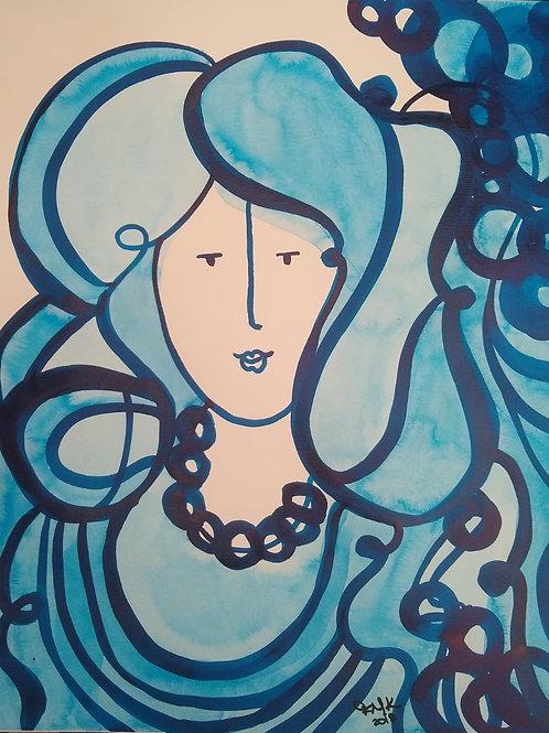 Senhorita -50 x 40 cm - por Fernanda Mascarenhas Kuhn