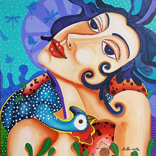 Moça com Angola - 50 x 50 cm - por Zeilton Mattos