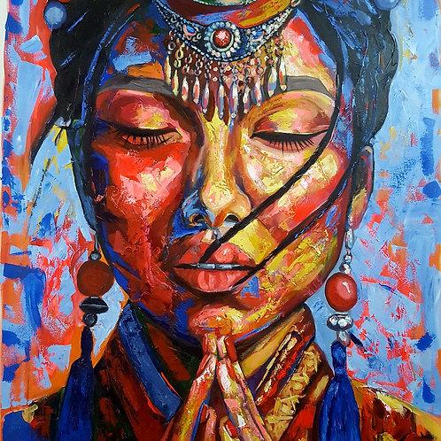 Mongolyan woman - 100 x 100 cm - por Juliana Lavoura