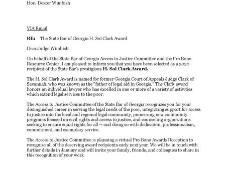 Local attorney awarded Georgia State Bar's Prestigious H. Sol Clark Award
