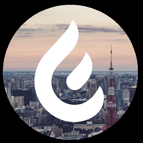 ステッカー:炎+東京タワー