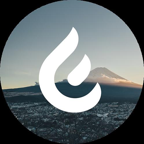 ステッカー:炎+富士山