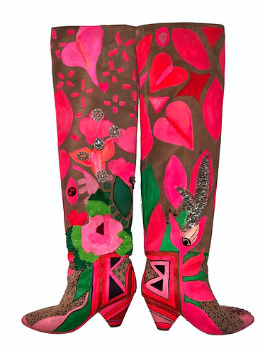 LSC X JEFFREY CAMPBELL PAINTED SUEDE THIGH HIGH BOOTS