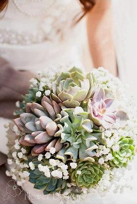 Букет невесты суккулентами