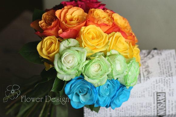 Букет невесты радуга из роз