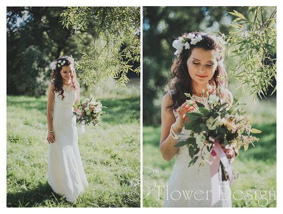 Букет невесты белый из эвкалипта, эустомы