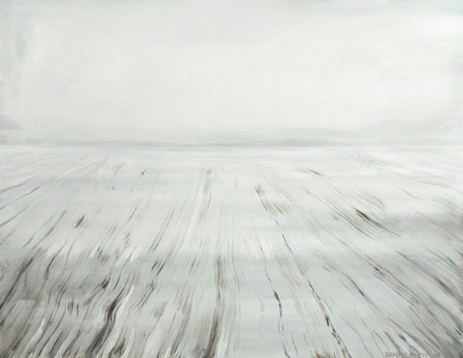 Зимовий пейзаж, полотно, акрил, 110х140