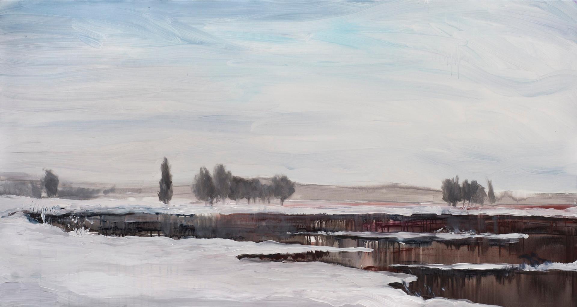 ''Зимове озеро'' Полотно, акрил 150х80см
