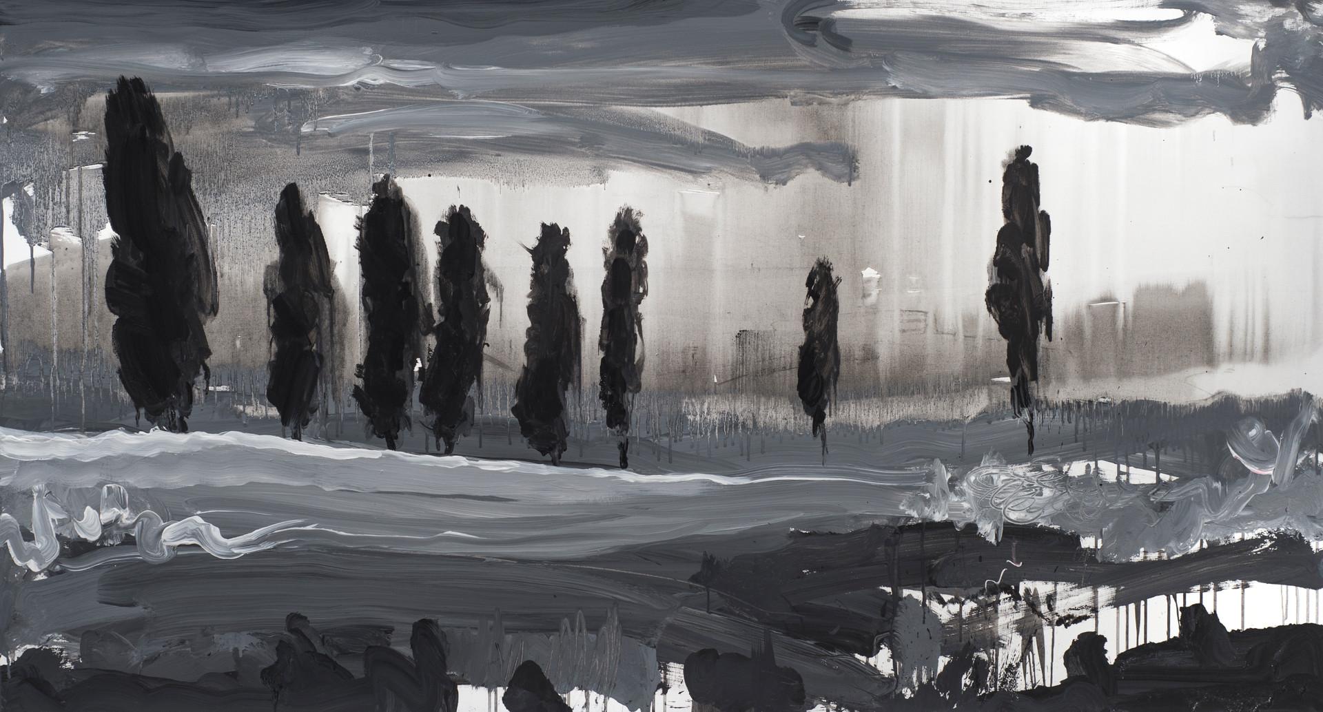 ''Тополі у полі'' акрил, полотно. 150х80