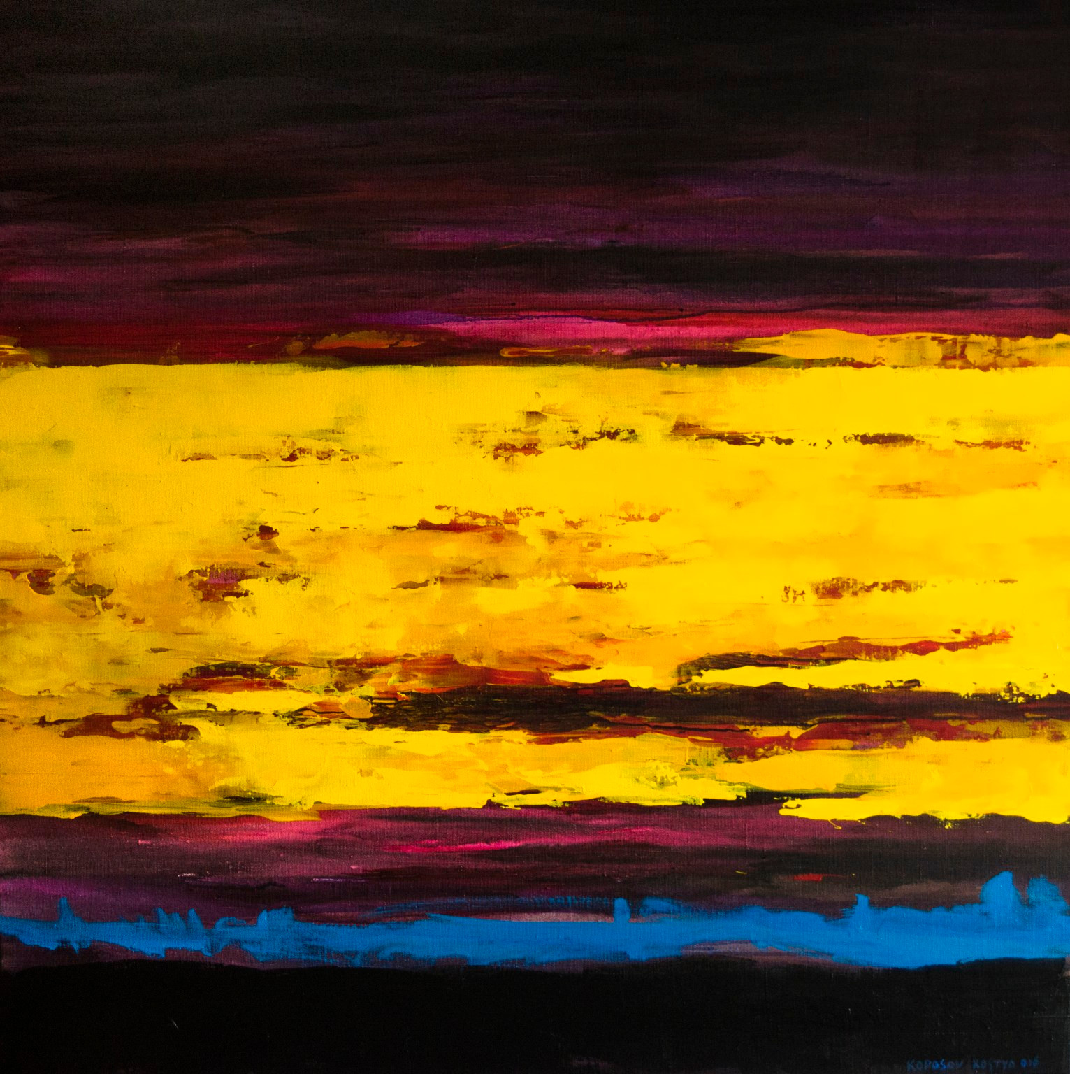 Жовта хмара, полотно, акрил, 115х115 см,