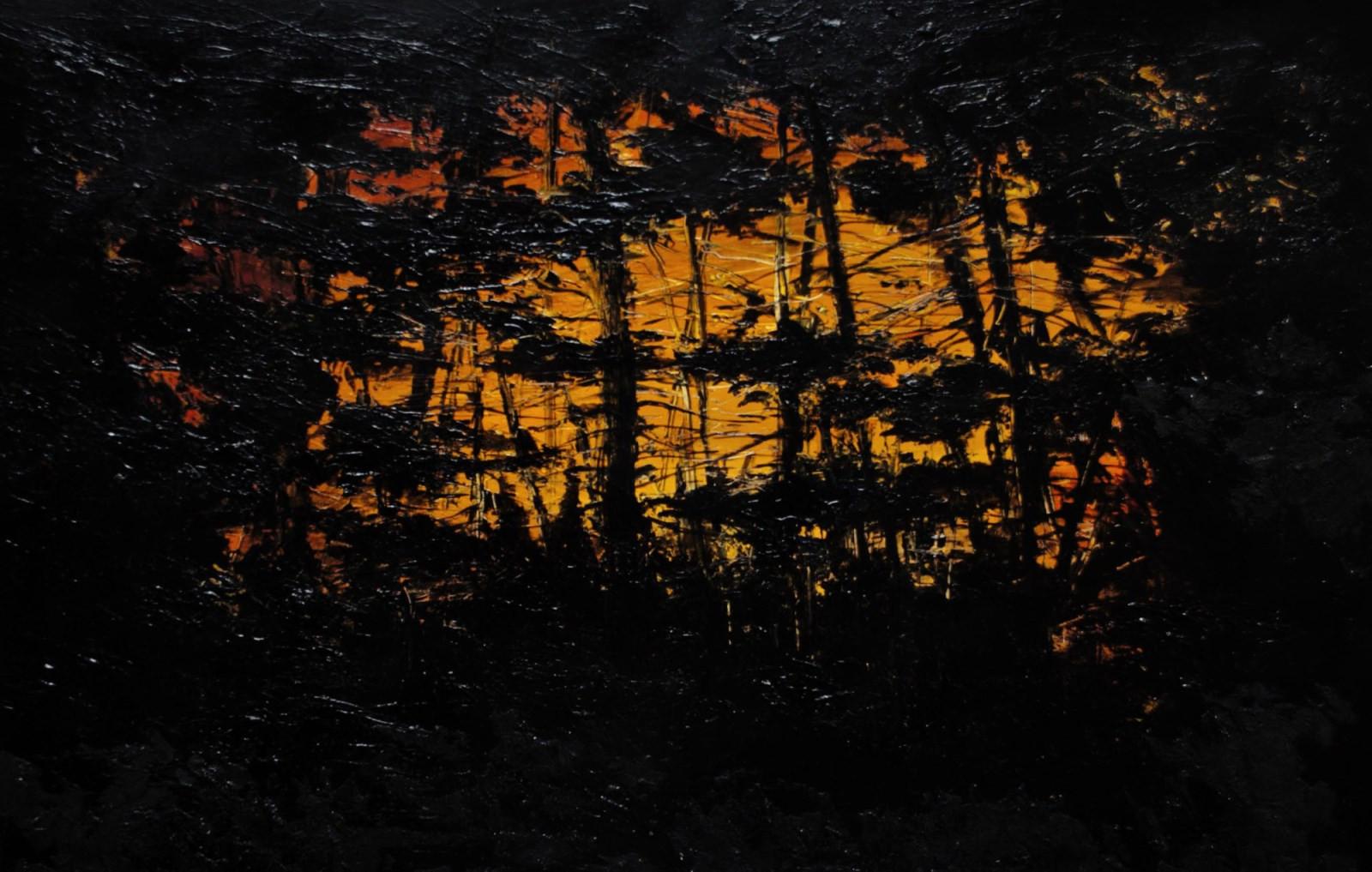 """""""Світло за деревами"""" Акрил,полотно.  60х"""