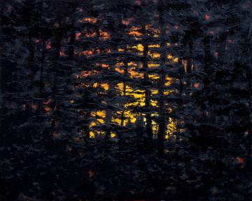 """""""Вечір у лісі""""  Акрил, полотно. 90х110 с"""