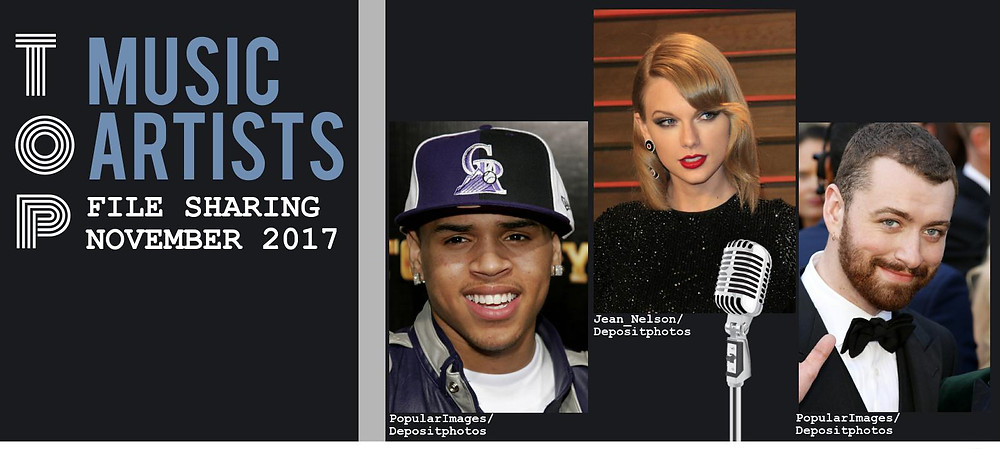 Header image of the TECXIPIO infographic. The person on the left is Chris Brown. The man on the right is Sam Smith. The woman in the middle is Taylor Swift.