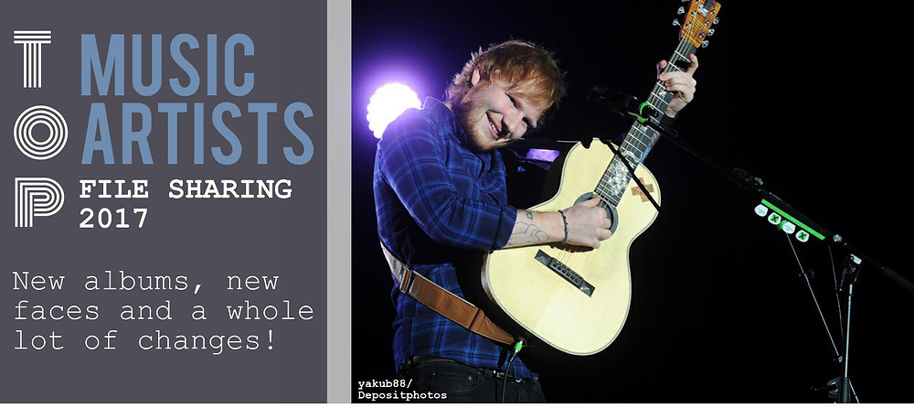 Header image of the TECXIPIO infographic. The top music aritsts 2017. The man on the right picture is the English pop music artist Ed Sheeran.