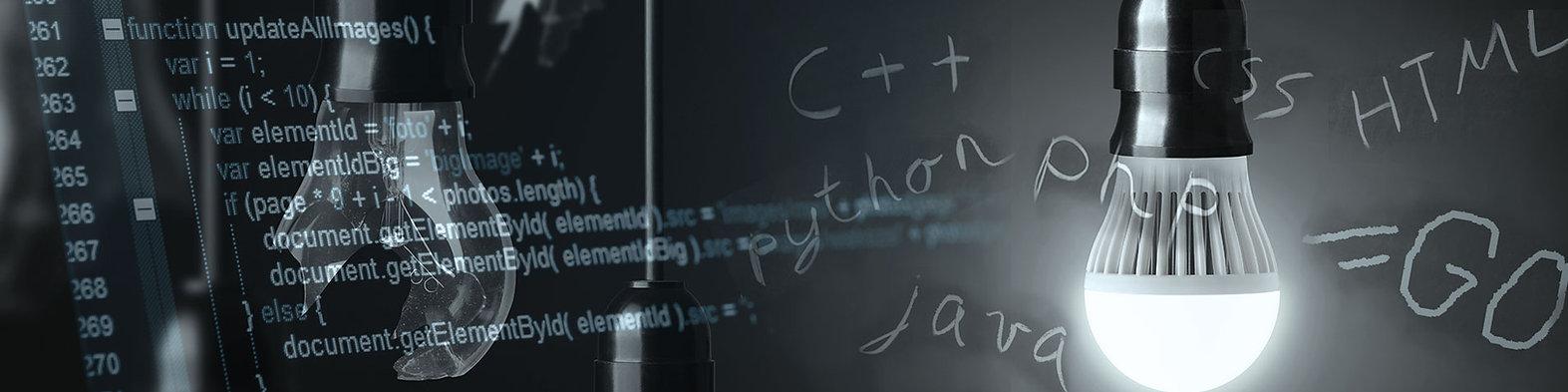 Headerbild der Jobanzeige (Junior)Full Stack Web Developer (m/w) bei der IT-Firma TECXIPIO in Karlsruhe. Weiterhin sind Glühbirnen und Bezeichnungen für Programmiersprachen zu sehen.