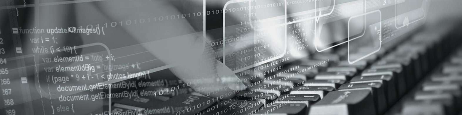Headerbild des Job Bereiches Ausbildung Fachinformatik bei der IT-Firma TECXIPIO in Karlsruhe. Auf dem Bild zu sehen ist ein Finger, welcher auf einer tastatur tippt. Weiterhin sind Nullen und Einsen im hintergrund zu sehen. Diese stellen den Bezug zum Thema IT her